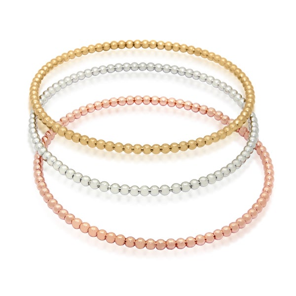 Gold-plated Sterling Silver Beaded Bangle Bracelet (Set of 3)