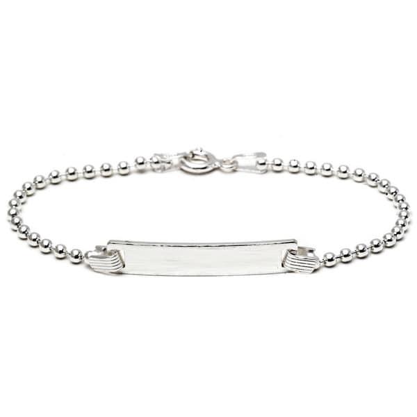 Pori Sterling Silver Children's ID Plate Chain Bracelet