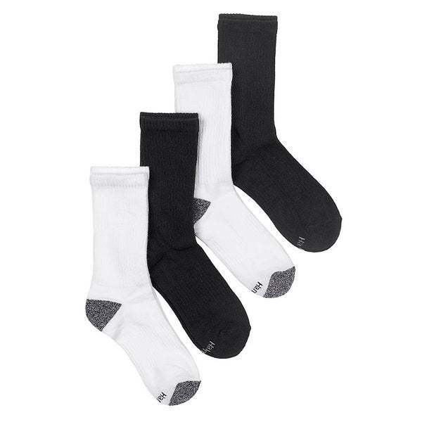 Hanes Fit Women's Black/ White Cushion Crew Socks with Arch Support (Pack of 4)