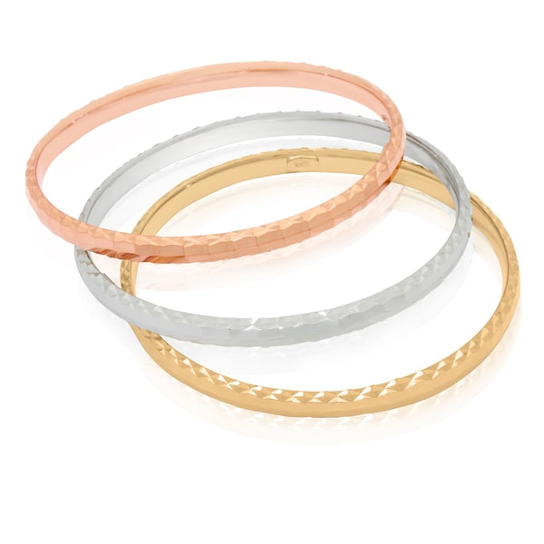 Gold-plated Sterling Silver Diamond-cut Bangle Bracelets (Set of 3)