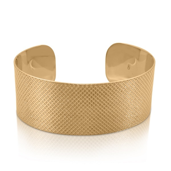 Sterling Silver Gold Plated Designer Cuff Bangle