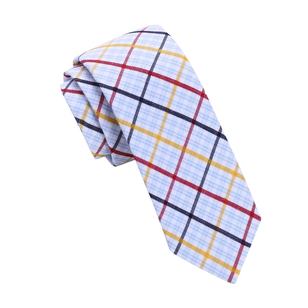 Skinny Tie Madness Men's White Plaid Skinny Tie
