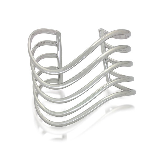 Sterling Silver Open Wavy Cuff Bangle