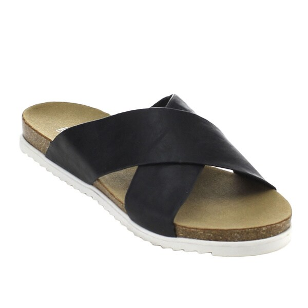 Bonnibel Benny-2 Women's Lug Sole Cork-like Criss Cross Strap Slide Sandals