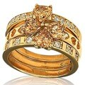 Suzy Levian Goldplated Sterling Silver Cubic Zirconia 3-piece Stackable Ring Set