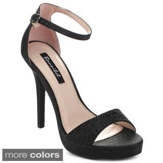 Bonnibel Bling-3 Women's Glitter Platform Stiletto Ankle Strap Dress Heels