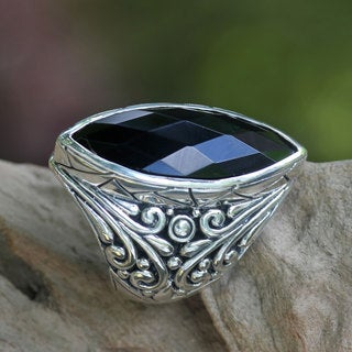 Handcrafted Sterling Silver 'Black Almond' Onyx Ring (Indonesia)