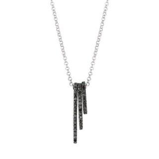 """Black Diamond Accent Women's Stackable Bar Pendant, 18"""""""