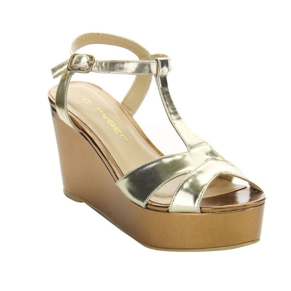 C Label Bottega-2 Women's T-strap Summer Ankle Strap Platform Wedges