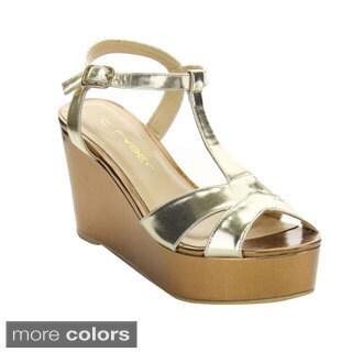 C Label Bottega-2 Women's T-strap Summer Ankle Strap Platform Wedges