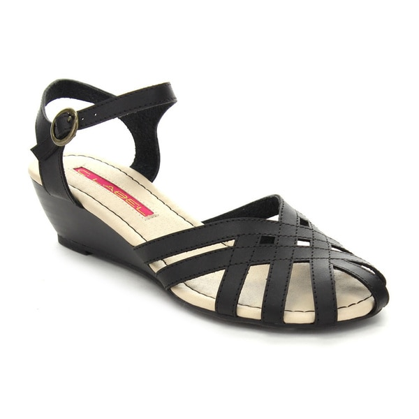 C Label Coco-17 Women's T-strap Ankle Strap Kitten Heel Caged Wedge