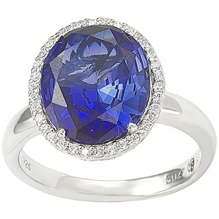 Suzy Levian Sterling Silver Created Blue Sapphire Diana Ring