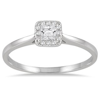 Marquee Jewels 14k White Gold 1/3ct TDW Diamond Halo Square Engagement Ring (I-J, I1-I2)