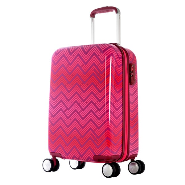 Olympia T-Line 29-inch Pink Chevron Polycarbonate Hardside 4-wheel Spinner Upright Suitcase