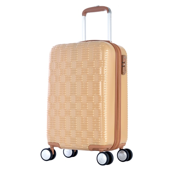 Olympia T-Line 21-inch Beige Checkered Polycarbonate Hardside 4-wheel Spinner Carry-on Suitcase