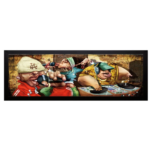 Adam Perez 'Rappers' 40 x 16 Framed Art