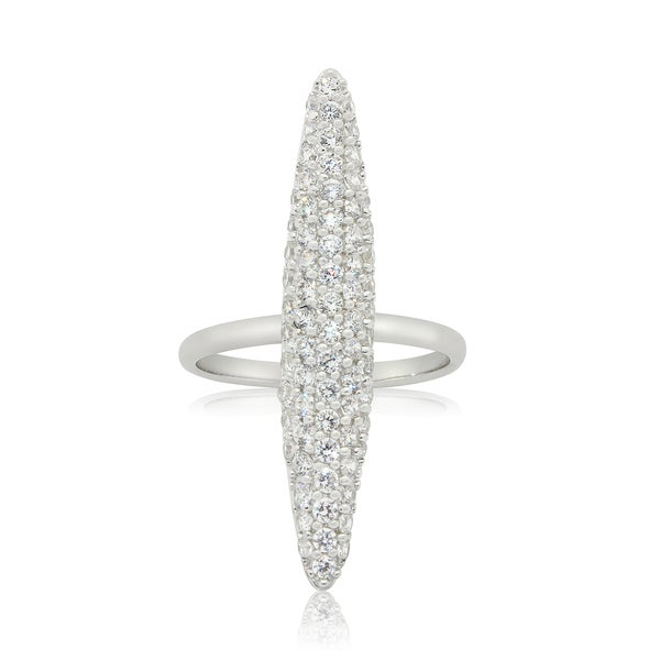 Sterling Silver Contemporary Line Cubic Zirconia Ring