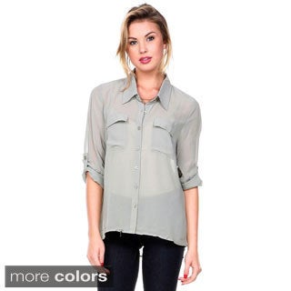 Stanzino Women's Long Sleeve Button Down Chiffon Shirt