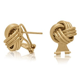 Gioelli Goldplated Sterling Silver Omega Love Knot Stud Earrings