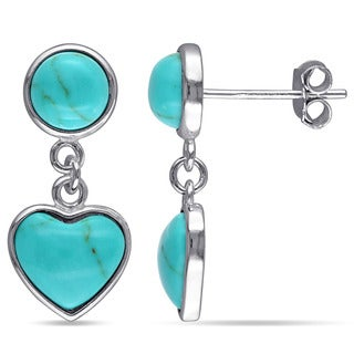 Miadora Sterling Silver Turquoise Heart Dangle Earrings