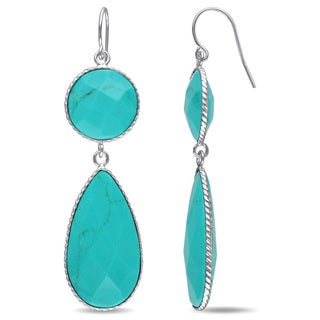 Miadora Sterling Silver Turquoise Dangle Earrings