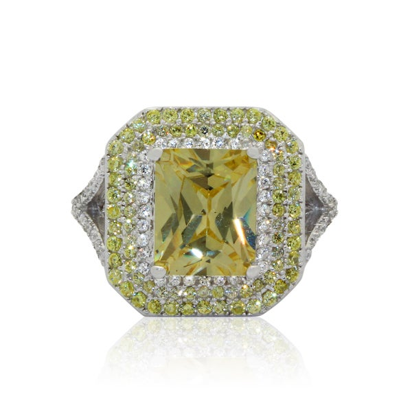 Sterling Silver Canary Yellow Cubic Zirconia Ring