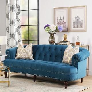 Jennifer Taylor La Rosa Burgundy Velvet Polyster Sofa