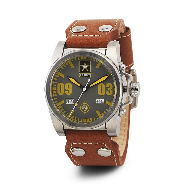 Wrist Armor Men's WA215 U.S. Army C1 Orange Strap Grey Dial Watch