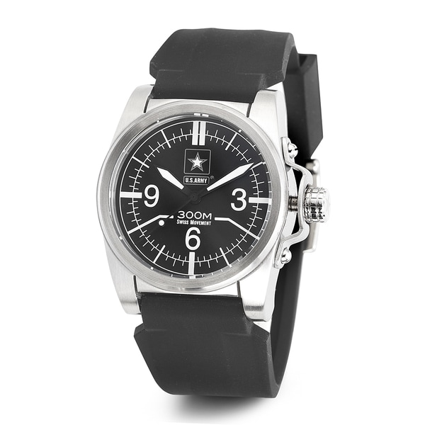 Wrist Armor Men's WA207 U.S. Army C1 Black Rubber Strap Watch