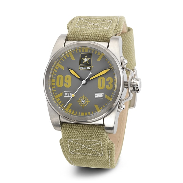 Wrist Armor Men's WA204 U.S. Army C1 Yellow Accent Green Strap Watch