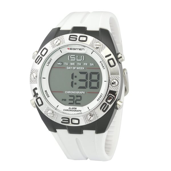 Regimen Men's RW1171 Digital Chronograph White Rubber Strap Watch