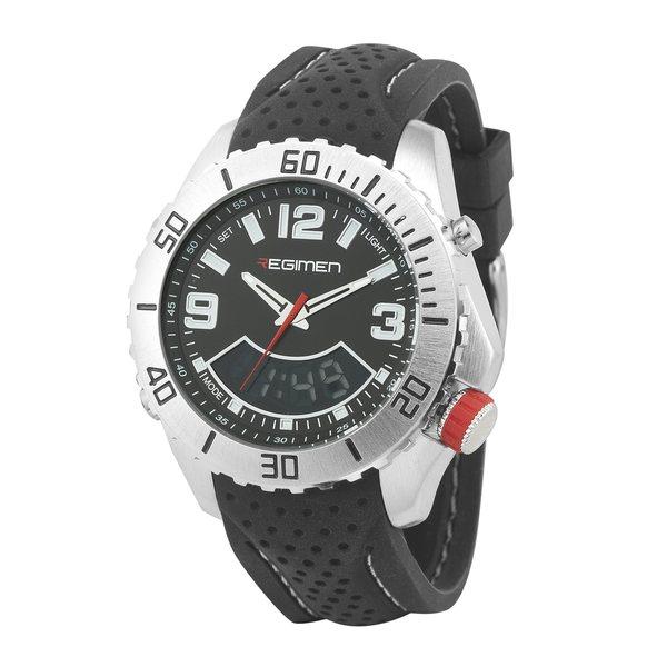 Regimen Men's RW1165 Black Analog-Digital Dual Time White Accent Watch