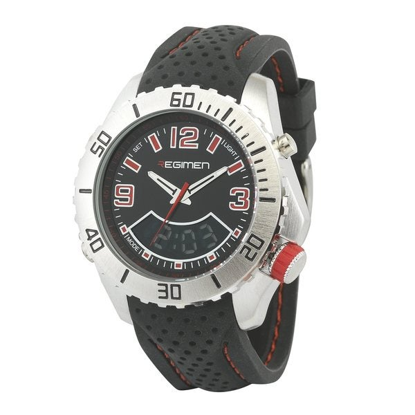 Regimen Men's RW1164 Black Analog-Digital Dual Time Red Accent Watch