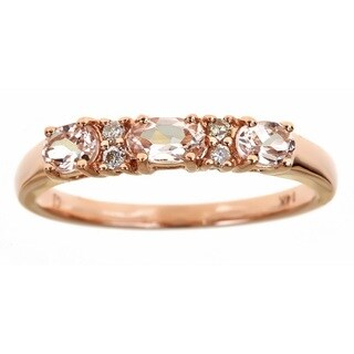 Anika and August D'Yach 14k Rose Gold 3-stone Morganite and Diamond Ring (Size 7)