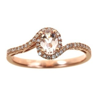 Anika and August 14k Rose Gold Oval-cut Morganite 1/5ct TDW Diamond Swirl Ring (G-H, I1-I2) (Size 7)
