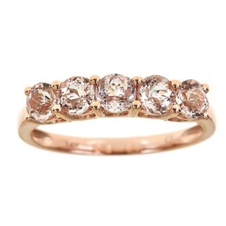 Anika and August 14k Rose Gold 5-stone Morganite Ring (Size 7)