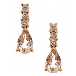 Anika and August 14k Rose Gold Morganite 1/6ct TDW Diamond Earrings (G-H, I1-I2)