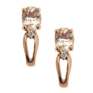 Anika and August D'Yach 14k Rose Gold Morganite Diamond Accent Earrings