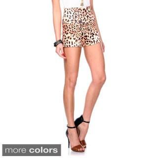 Stanzino Women's High Waist Animal Print Casual Shorts