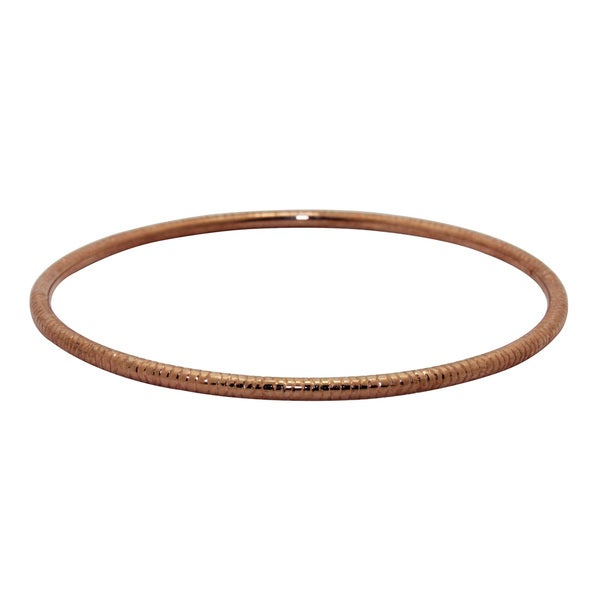 Gioelli 14k Rose Gold Textured Bangle