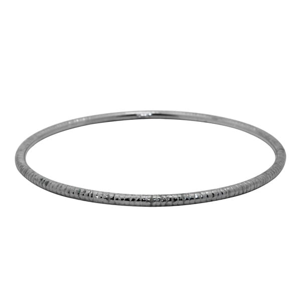 Gioelli 14k White Gold Textured Bangle