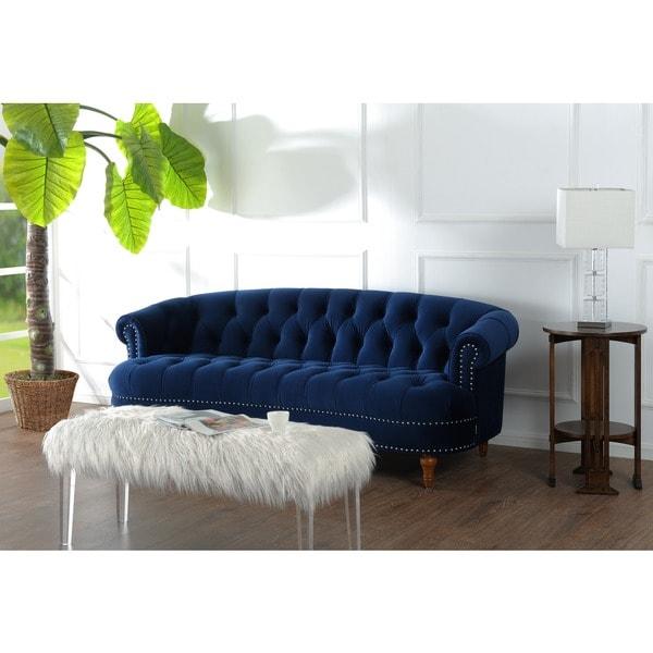 Jennifer Taylor Broderick Royal Blue Tufted Fabric Vanity Sofa