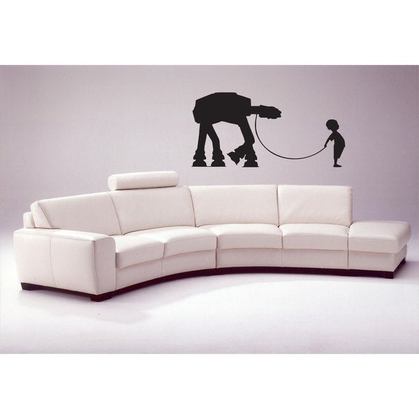Little Boy with His AT-AT Sticker Vinyl Wall Art
