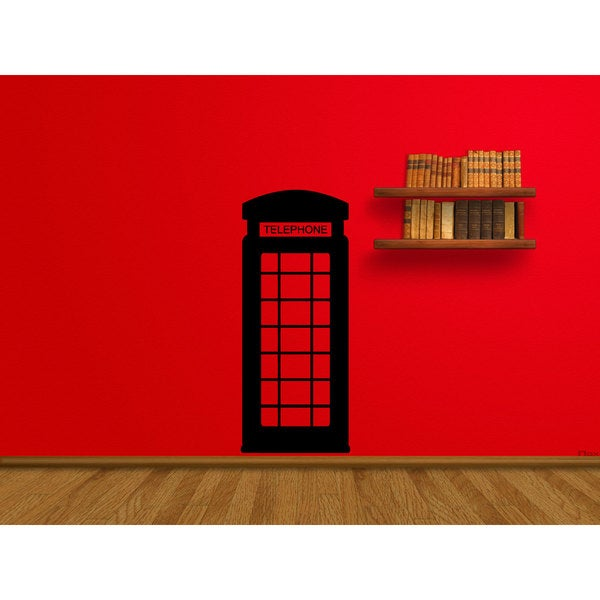Phone Booth London England Black Sticker Vinyl Wall Art