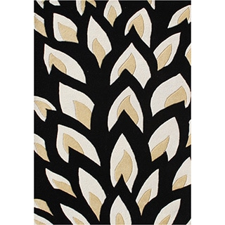 Alliyah Hand-made Tufted Flame Inspiration Black Wool Rug (8x10)