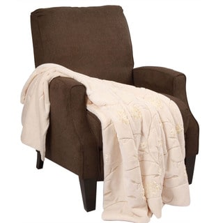 BNF Home Ribbon Embroidered Faux Fur Throw