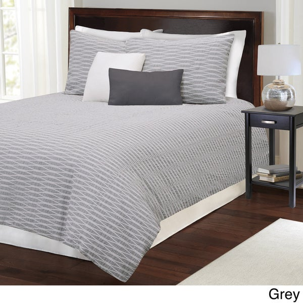 Parker Cotton Grey Full/ Queen Duvet Cover (As Is Item)