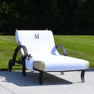 Authentic Turkish Cotton Monogrammed Towel Cover with pockets for Standard Size Chaise Lounge Chair