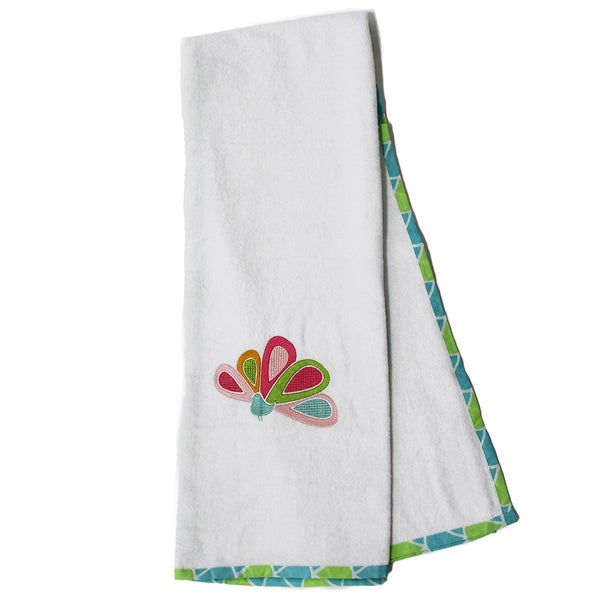Pam Grace Creations Aqua Peacock Cotton Bath Towels (Set of 2)