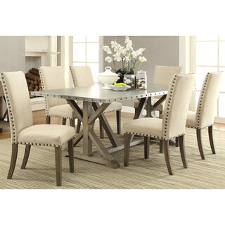 Rosemarin Transitional Driftwood and Metal Dining Set